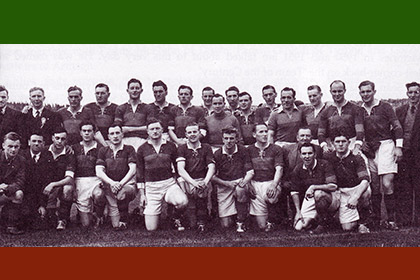 The powerful Mayo squad of the early 50&#39;s. Front, left to right Jimmy Curran,<b> Jackie Carney (co-trainer)</b>, Mick Flanagan, Peter Quinn, Sean Flanagan, Padraic Camey, Mick Mulderrig, Billy Kenny, Peter Solan, Mick Downey (masseur), Uam Hastings, Joe Staunton. Back l-r: Back, left to right: Dr Jimmy Laffey (Chairman Co Board), Gerald Courell (co-trainer), John Forde, Henry Dixon, John McAndrew, Tom Langan, Joe Gilvarry, Tom Acton, Billy Durkan, Paddy Irvin, Sean Wynne, Mick Caulfield, Tommy Byme, Sean Mulderrig, Eamonn Mongey, Paddy Prendergast.