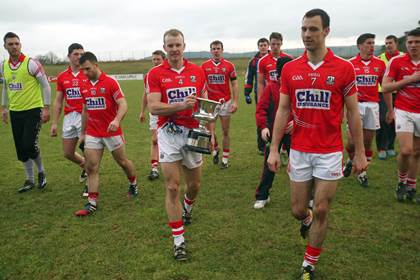 Cork captain Michael Shields with the McGrath Cup.<br />&#169;INPHO/Donall Farmer.