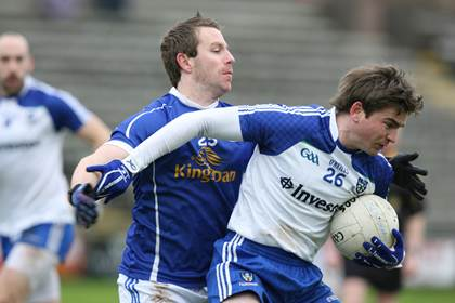 Action from the McKenna Cup. Monaghan's Dessie Mone with Michael Lyng of Cavan.