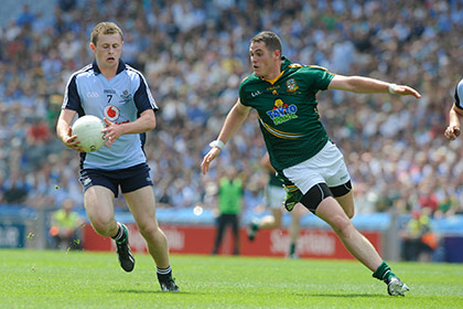 Meath's Bryan Menton closes in on Jack McCaffrey Dublin during the Leinster SFC final