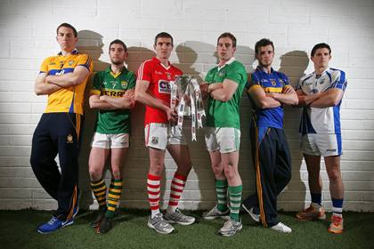 At the launch of the 2013 Munster Senior Football Championship are, l/r: Clare captain Gary Brennan, Kerry's Killian Young, Cork captain Graham Canty, Limerick captain Seanie Buckley, Tipperary captain Paddy Codd and Waterford's Tony Grey ©INPHO/Cathal Noonan