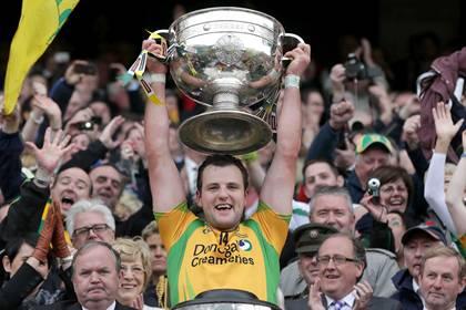 Donegal captain Michael Murphy raises the Sam Maguire ©INPHO/Morgan Treacy