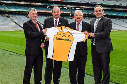 At the sponsorship launch were Uachtarán Chumann Lúthchleas Gael Liam Ó Néill, second from left, with from left, Peter Gormley and Patrick Gormley, Sperrin Metal Storage Solutions, and Paddy Darcy, Secretary Middle East County Board.