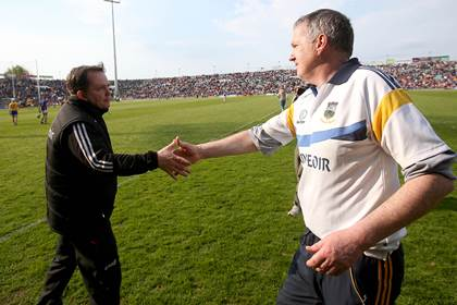 Managers Davy Fitzgerald and Eamon O&#39;Shea after the Clare v Tipperary NHL Division 1 semi-final clash at the Gaelic Grounds.<br />&#169;INPHO/Donall Farmer.