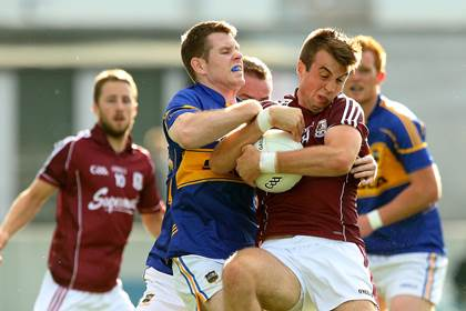 Action from the All-Ireland SFC Qualifiers. Galway&#39;s Paul Conroy and Ger Mulhair of Tipperary.<br />&#169;INPHO/James Crombie.