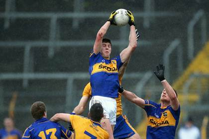 Tipperary&#39;s Steven O&#39;Brien goes highest against Clare at Semple Stadium.<br />&#169;INPHO/Ryan Byrne.