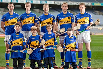 Tipperary football captain Paddy Codd, footballer Alan Campbell, hurler's Ciaran Bergin, Noel McGrath and Brendan Maher. Front, Danny Shelly (6), Rory O'Mahony (6), Charlie Walsh (6) and Sam Coen (5) ©INPHO/Morgan Treacy