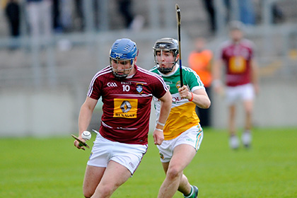 Westmeath's Ciaran Doyle gets away from Padraig Guinan Offaly during the Leinster Under 21 hurling championship game at O'Connor Park Tullamore