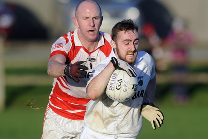 Moate's Jamie Madden with Ballon's Paddy Byrne during the Leinster Club JFC semi final at Hogan Park Moate