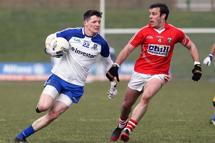 Conor McManus of Monaghan and James Loughrey of Cork<br />&#169;INPHO