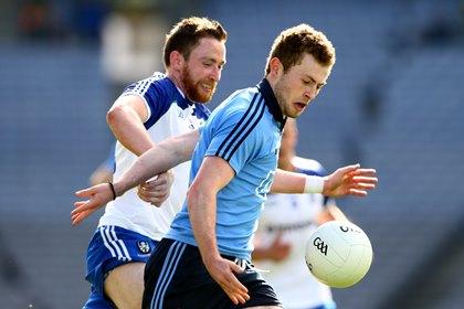 Monaghan&#39;s Owen Duffy tackles Jack McCaffrey of Dublin<br />&#169;INPHO